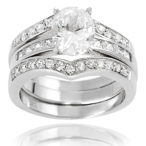 Alexandria Collection Sterling Silver Oval-Cut Cubic Zirconia Engagement Ring