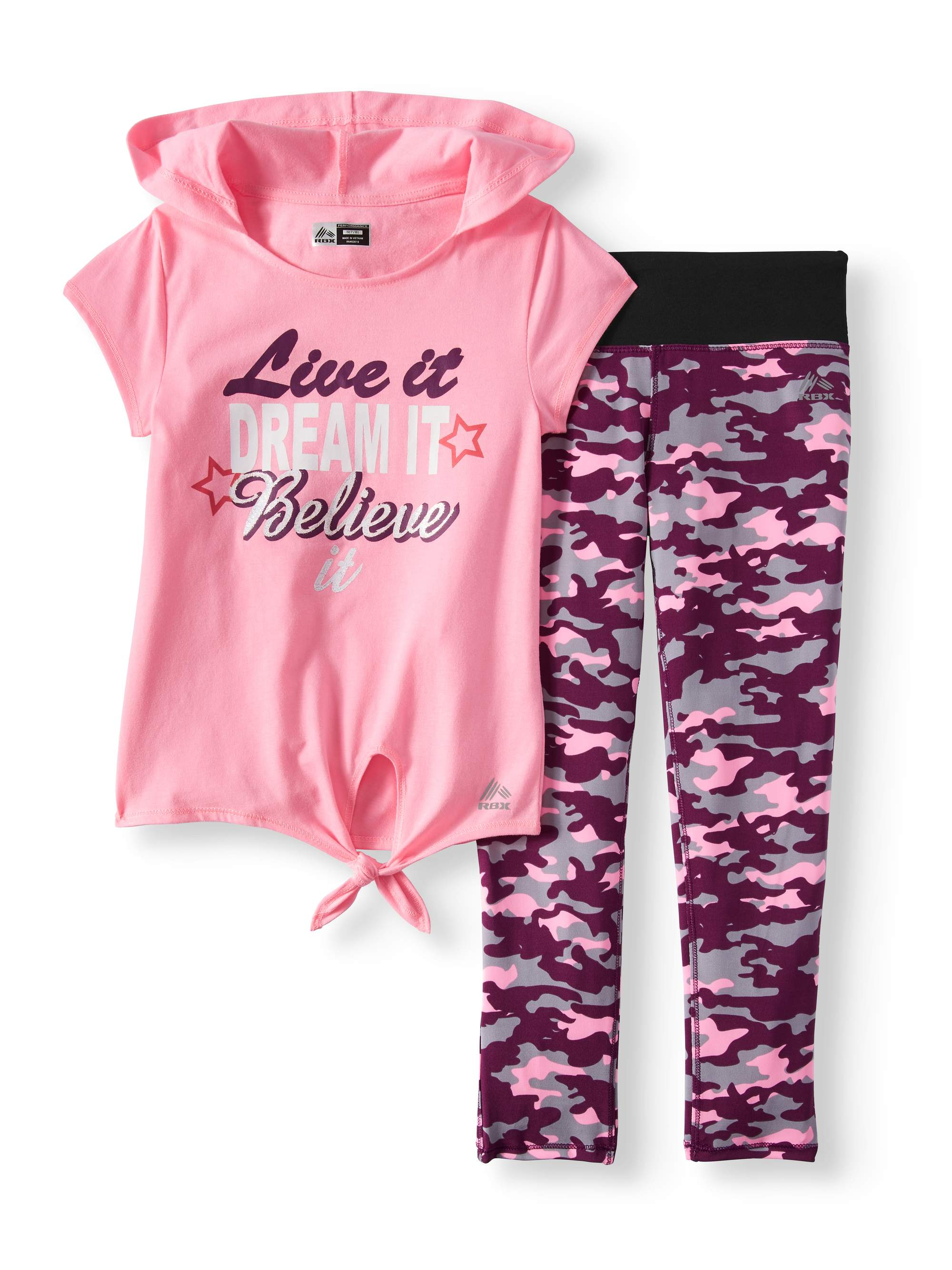 RBX Performance Hooded Top & Camo Legging, 2pc Set (Little and Big Girls)