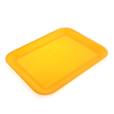 Restaurant Plastic Rectangle Shaped Food Sandwich Serving Tray Yellow 15
