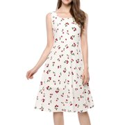 Women's Sleeveless Vintage 1950s Swing Cherry Print Midi Flare Dress
