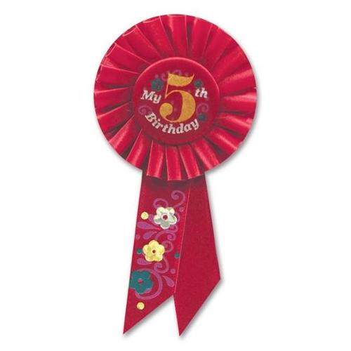 Beistle RS055R My 5th Birthday Rosette - Pack of 6
