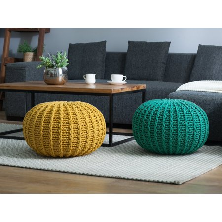 14 Inch 2 Light - Knitted Pouffe Cotton Pouf Round Footstool Living Room Green 20 x 14 inch Conrad II