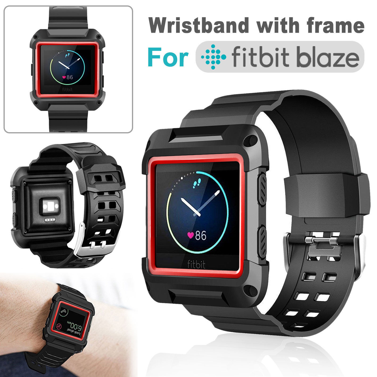 TSV Silicone Replacement Band Strap with Black Frame Case For Fitbit Blaze - Red & Black