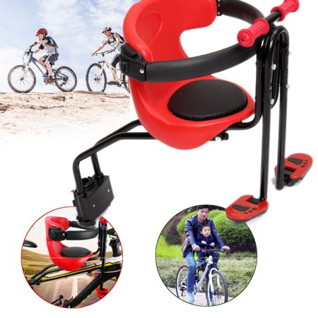 Mrosaa Bicycle Baby Seat Kids Child Safety Carrier Front Seat Saddle Cushion with Back Rest Foot Pedals Carrier Up to - Toddler Bike Seat