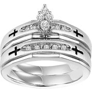 1/5 Carat T.W. Diamond Sterling Silver Cross Bridal Set