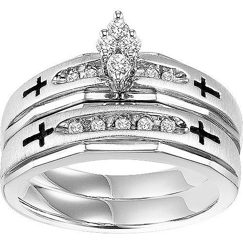 Forever Bride 1/5 Carat T.W. Diamond Sterling Silver Cross Bridal Set