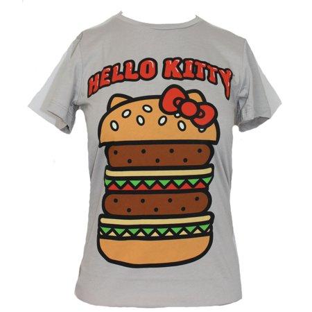 Hello Kitty Girls Juniors  T-Shirt - Happy Hamburger Adorned With Kitty (Hellokitty Bow)
