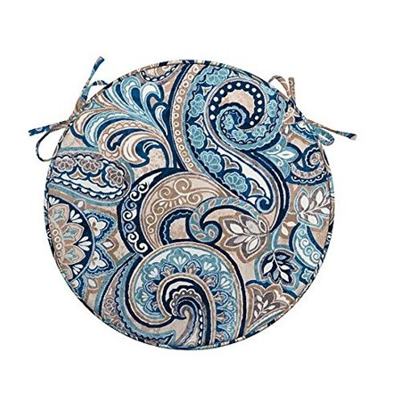 Blue Taupe Paisley Tile Set Of 2 Outdoor 16 Round Bistro Chair Cushions Patio Seat Pads With Ties Welted Edge