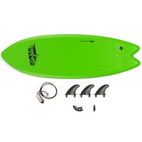 "5'5"" Ocean Foamie SurfBoard with Rope and 3 Fins-Green"