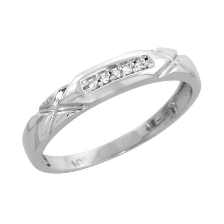 Cut Diamond Ring Band - 10k White Gold Ladies Diamond Wedding Band Ring 0.03 cttw Brilliant Cut, 1/8 inch 3.5mm wide
