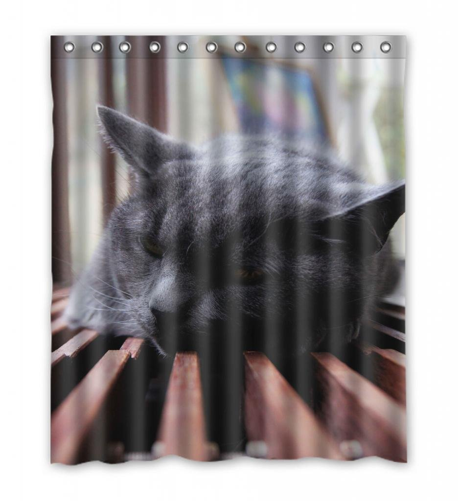 Ganma Animal Pet Black Sleeping Cute Cat Shower Curtain Polyester Fabric Bathroom Shower Curtain 60x72 Inches