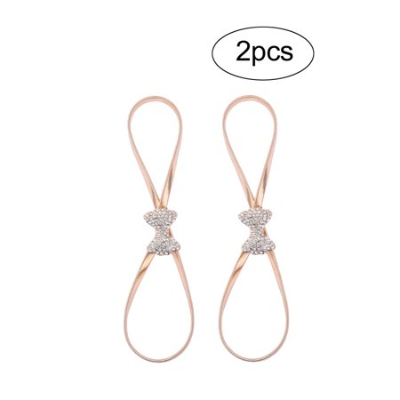 Women Rhinestone Bowknot Decor Skinny Elastic Stretchy Metal Belt gold 2 pcs - image 2 of 5