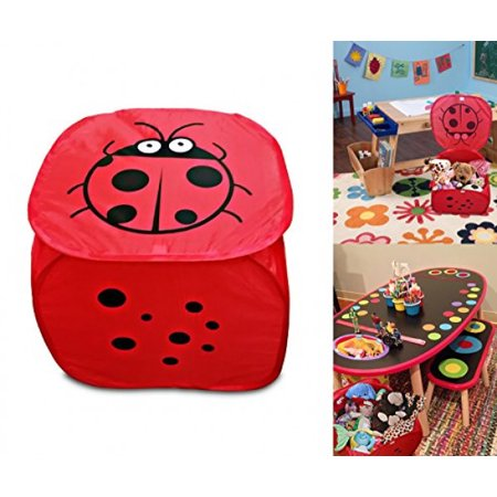 Red Lady bug Pop up mesh toy and game organizer bin, with lid & Easy to carry handles, Square Folding Toy chest (Toy Box Games)