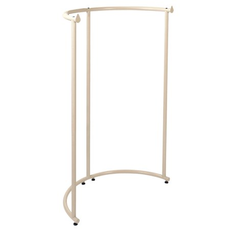 Half Round Clothing Rack - Ivory (37 1/2 W x 55 H) Our Half Round Clothing Rack -Ivory is sure to add a touch of style to your showroom floor. TheIvory Half Round Rack features 56  of hanging space in a unique space saving design. Measuring 37 1/2 W from side to side with a1 diameter hangrail, the Ivory Half Round Rack will display a variety of clothing.