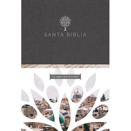 Santa Biblia RVR 1960 - Letra grande, tapa dura negra con imágenes de Tierra Santa / Spanish Holy Bible RVR 1960 -Large Print, Hard - Casa Negra De Halloween