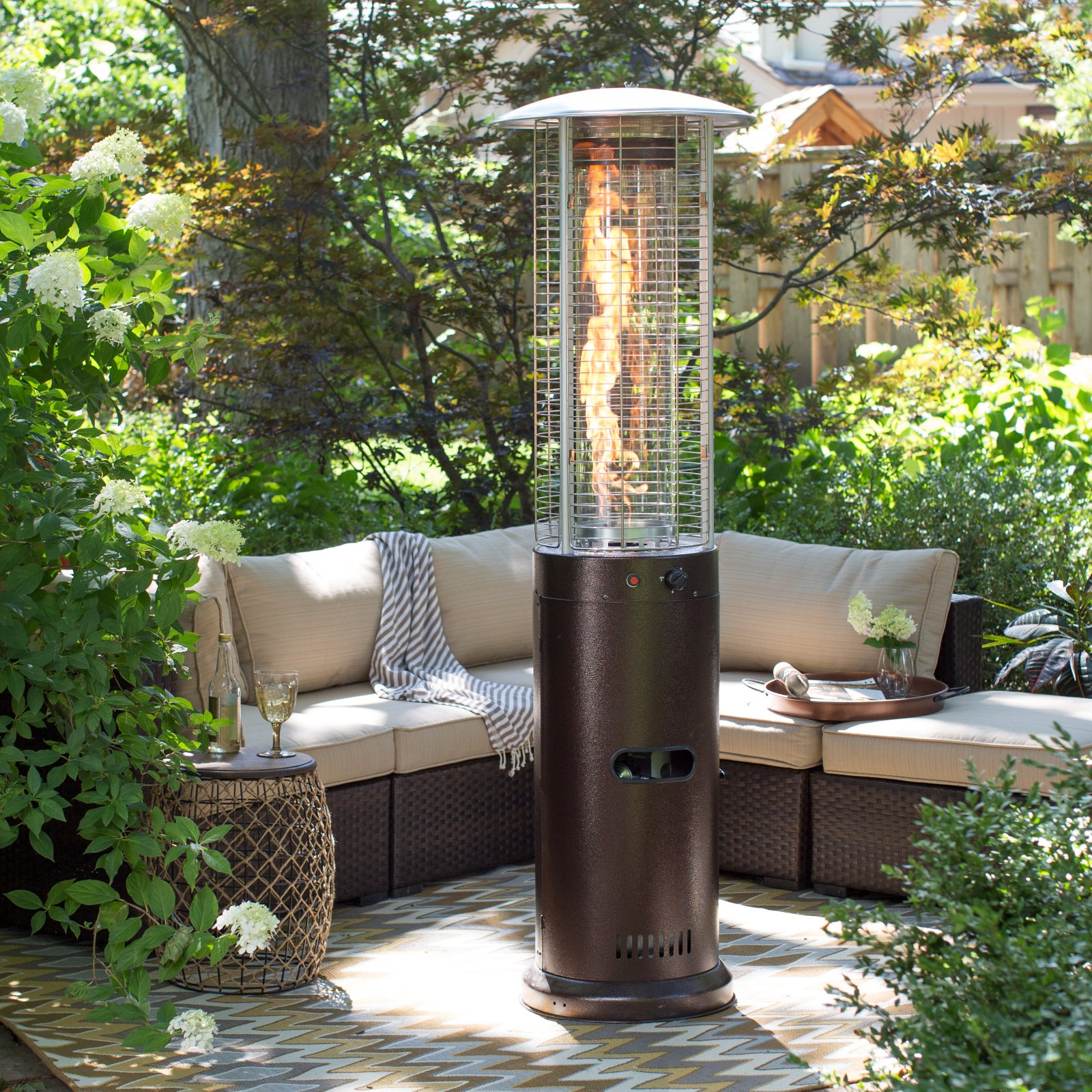 Perfect Red Ember Fuego Patio Heater   Hammeredtone Bronze