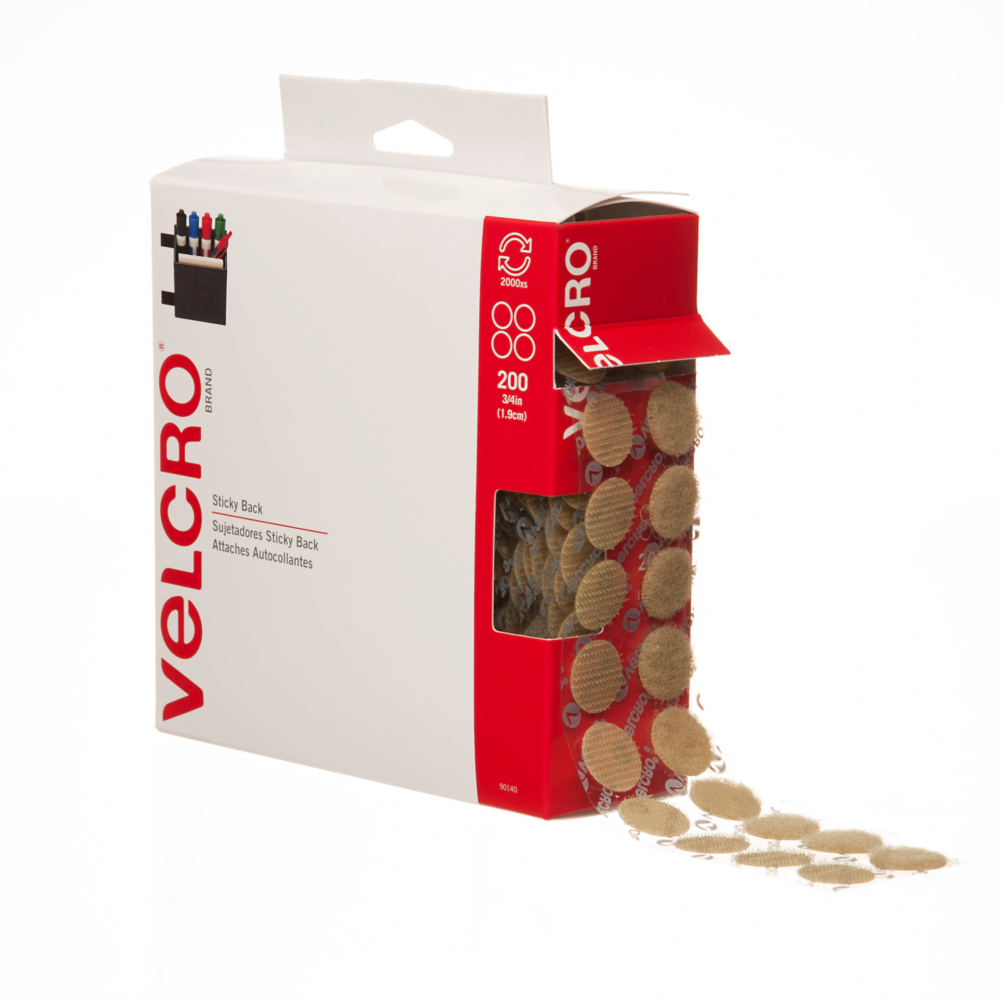 VELCRO Sticky-Back Hook and Loop Dot Fasteners w/Dispenser, 200/Roll, Beige
