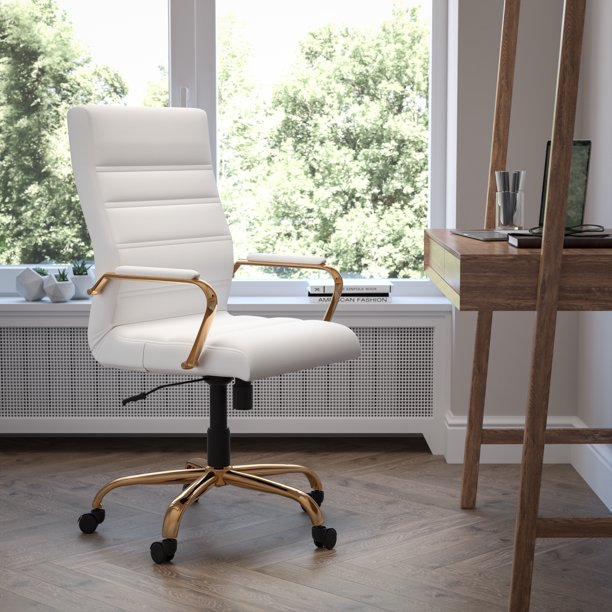Flash Furniture High Back White, White And Gold Office Chair High Back