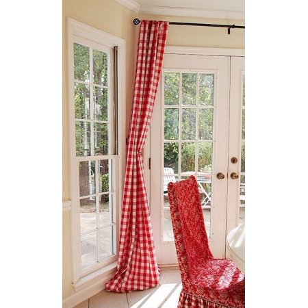 """Checkered Panel Drape GINGHAM Buffalo POLYESTER PICNIC CHECKER Window Curtain"""", (Color:Red and White , Size: 59"""" W x 63"""" H)"""