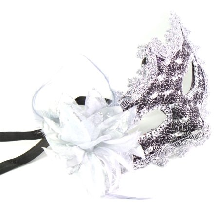 Silver White Flower Feather Lace Eye Mask Masquerade Ball Party Halloween Costume - Halloween Eye Painting Ideas
