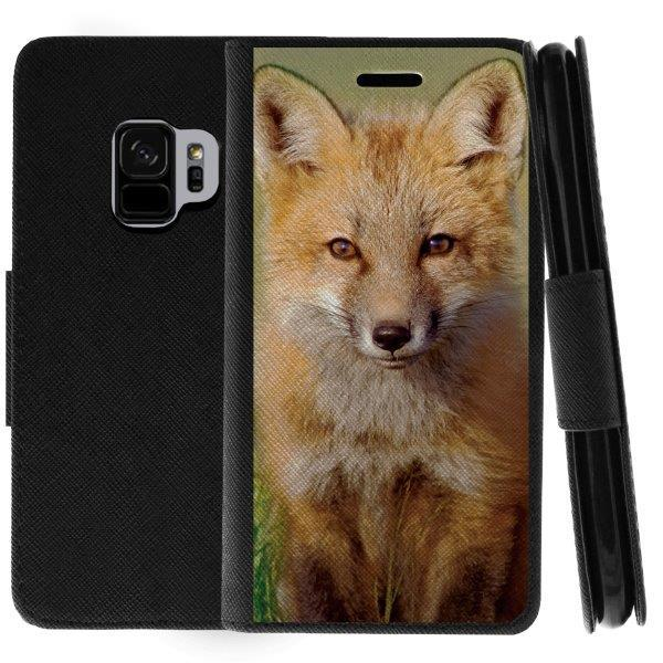 TurtleArmor ® | For Samsung Galaxy S9 G960 [Wallet Case] Leather Cover with Flip Kickstand and Card Slots - Baby Fox