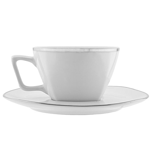 TenStrawberryStreet Lotus Silver Line 6 oz. Cup and Saucer (Set of 6)