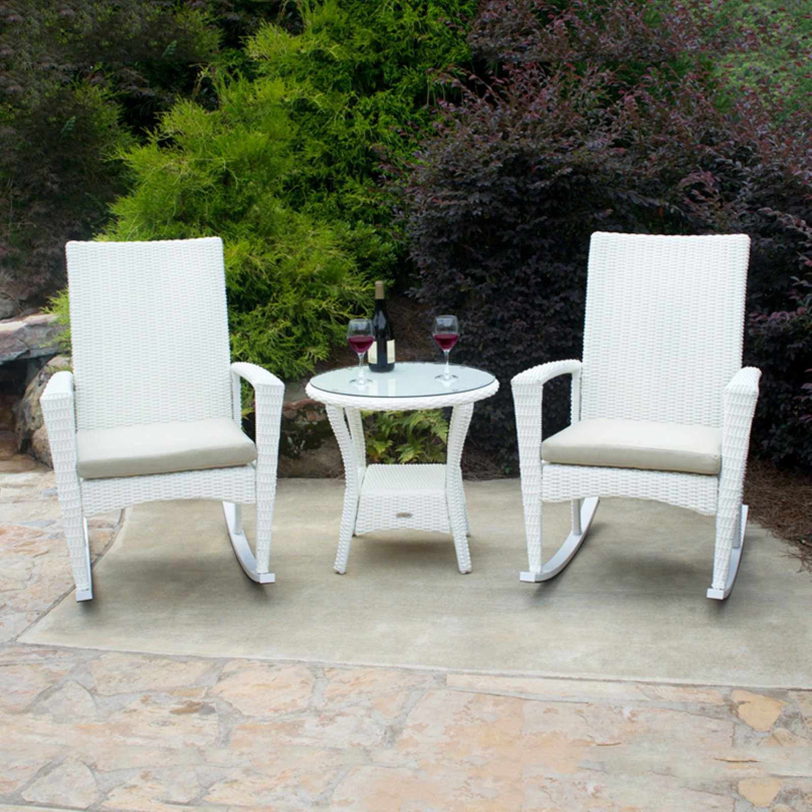 tortuga outdoor bayview 3pc wicker rocking chair and table set