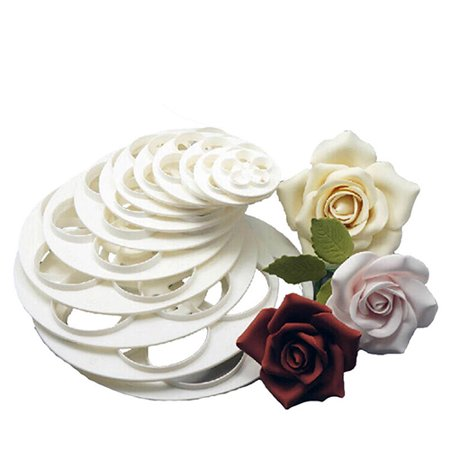 ZeAofa 6 Pcs Fondant Cake Sugarcraft Rose Flower Cookie Mold Gum Paste Cutter Tools (Rose Cookie Mold)