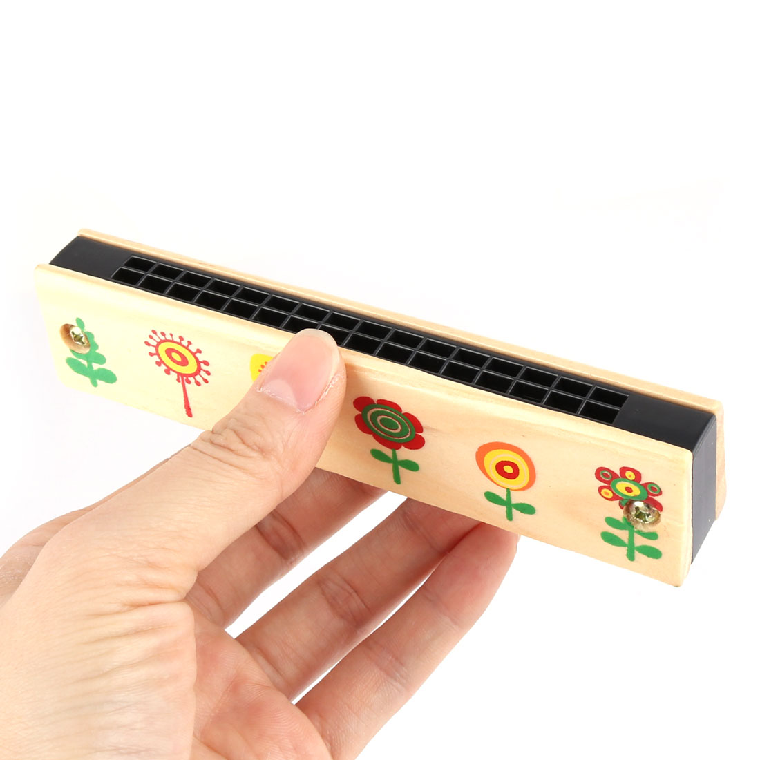 Unique BargainsWooden Flower Pattern Early Education Dual Rows Harmonica Musical Instrument - image 2 of 3