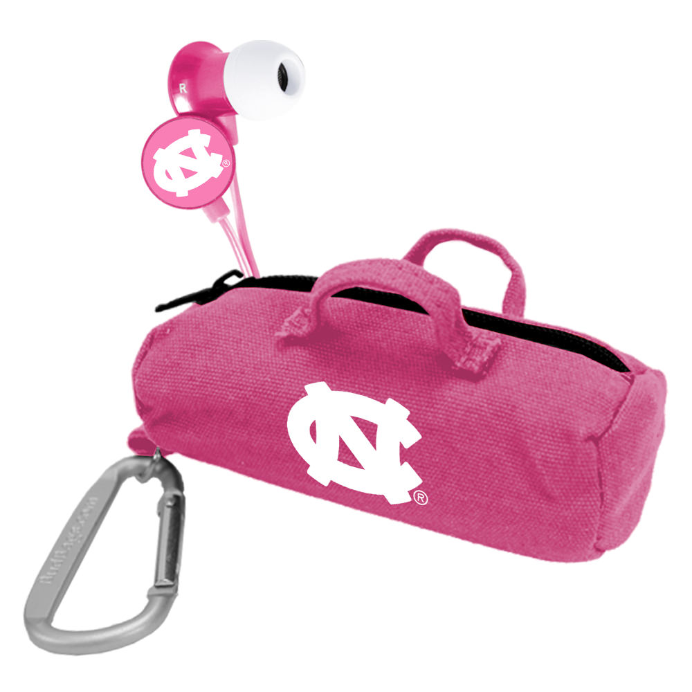 North Carolina Tar Heels Pink Scorch Earbuds with BudBag
