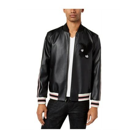 I-N-C Mens Faux-Leather Varsity Bomber Jacket deepblack XL