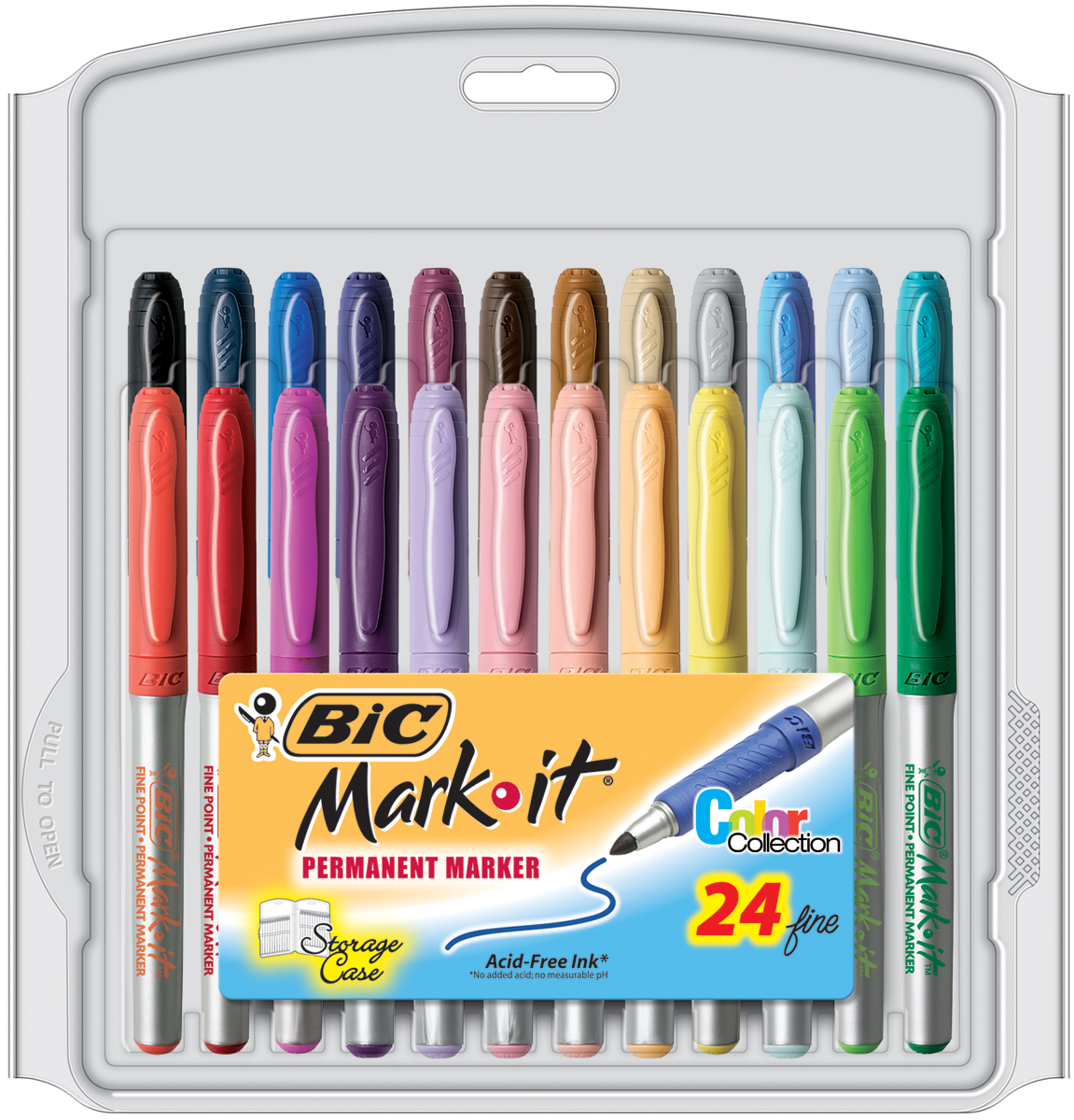 Bic Mark-It Permanent Markers Fine Point 24/Pkg-Color Collection