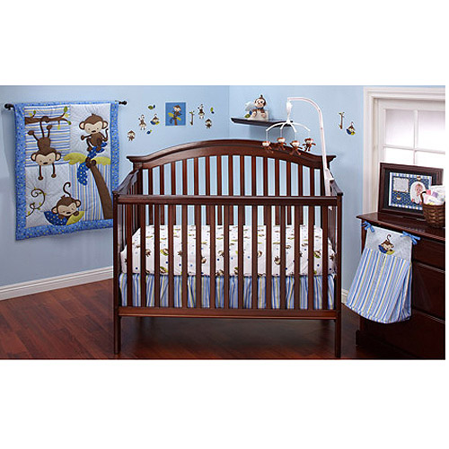 Little Bedding by NoJo 3 Little Monkeys 10pc Nursery in a Bag Crib Bedding Set, Blue