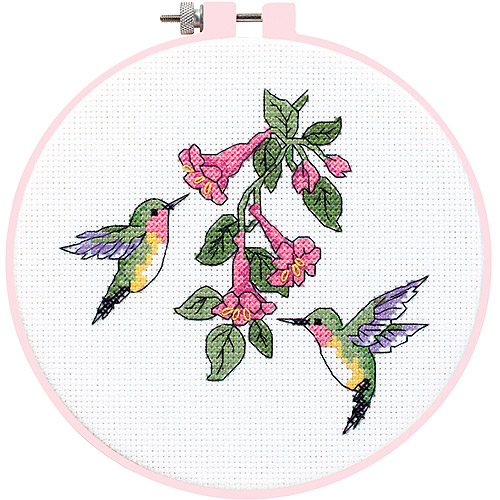 "Dimensions Learn-A-Craft ""Hummingbird Duo"" Counted Cross Stitch Kit, 6"" Round"