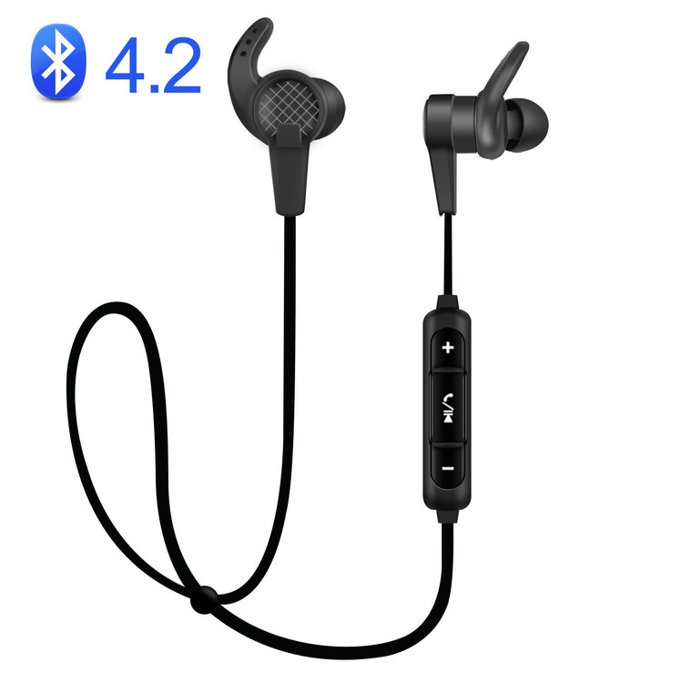 Bluetooth Headphones, Best Wireless Sports Earphones w/ Mic IPX7 Waterproof HD Stereo Sweatproof Earbuds for Gym Running Workout 8 Hour Battery Noise Cancelling Headsets-Black