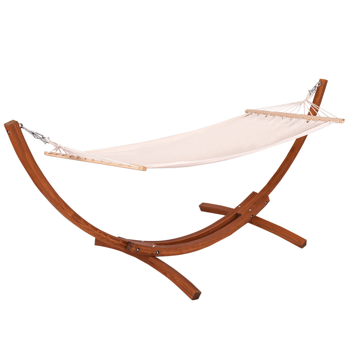 Goplus 123''X46''X48'' Wooden Curved Arc Hammock Stand with Cotton Hammock Outdoor