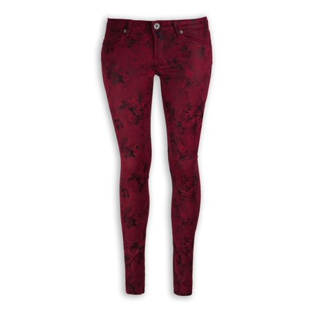 NEW Women Fashion Skinny Slim Red Flower Denim Jeans Pants ALL SIZES Sizes