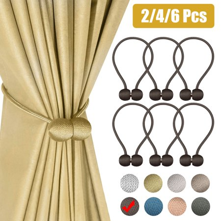 Magnetic Curtain Tiebacks Clips - 2/4/6Pcs Decorative Curtain Holdbacks, Pearl Ball Curtain Tiebacks Tie Backs Window Holders Holdbacks Curtain Buckle Decorative Rope Holdbacks Tiebacks for Home Ivory Decorative Tie Back