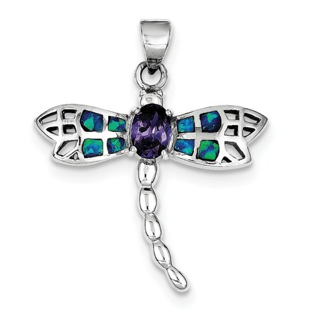 Sterling Silver Blue Inlay Simulated Opal Dragonfly Oval Amethyst Pendant