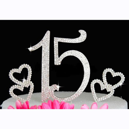15th Birthday Cake Topper Quinceanera Bling Birthday Caketop with Hearts Cake - Quinceaneras Decorations