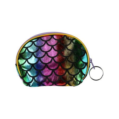 Size one size Kid's Rainbow Color Mermaid Scale Coin Purse Wallet, Rainbow](Rainbow Bag)