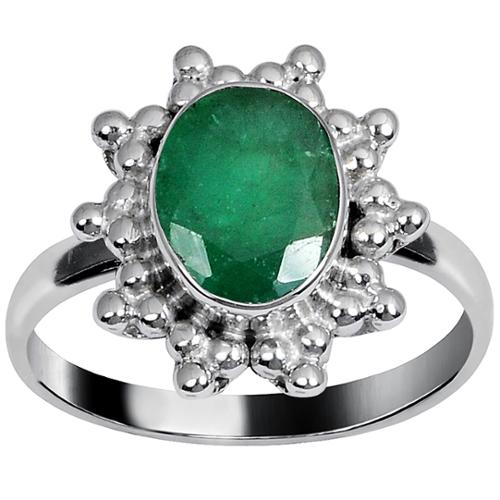 Orchid Jewelry Mfg Inc Orchid Jewelry's Brass Ring Studded with 1.85 Carat Weight Genuine Emerald