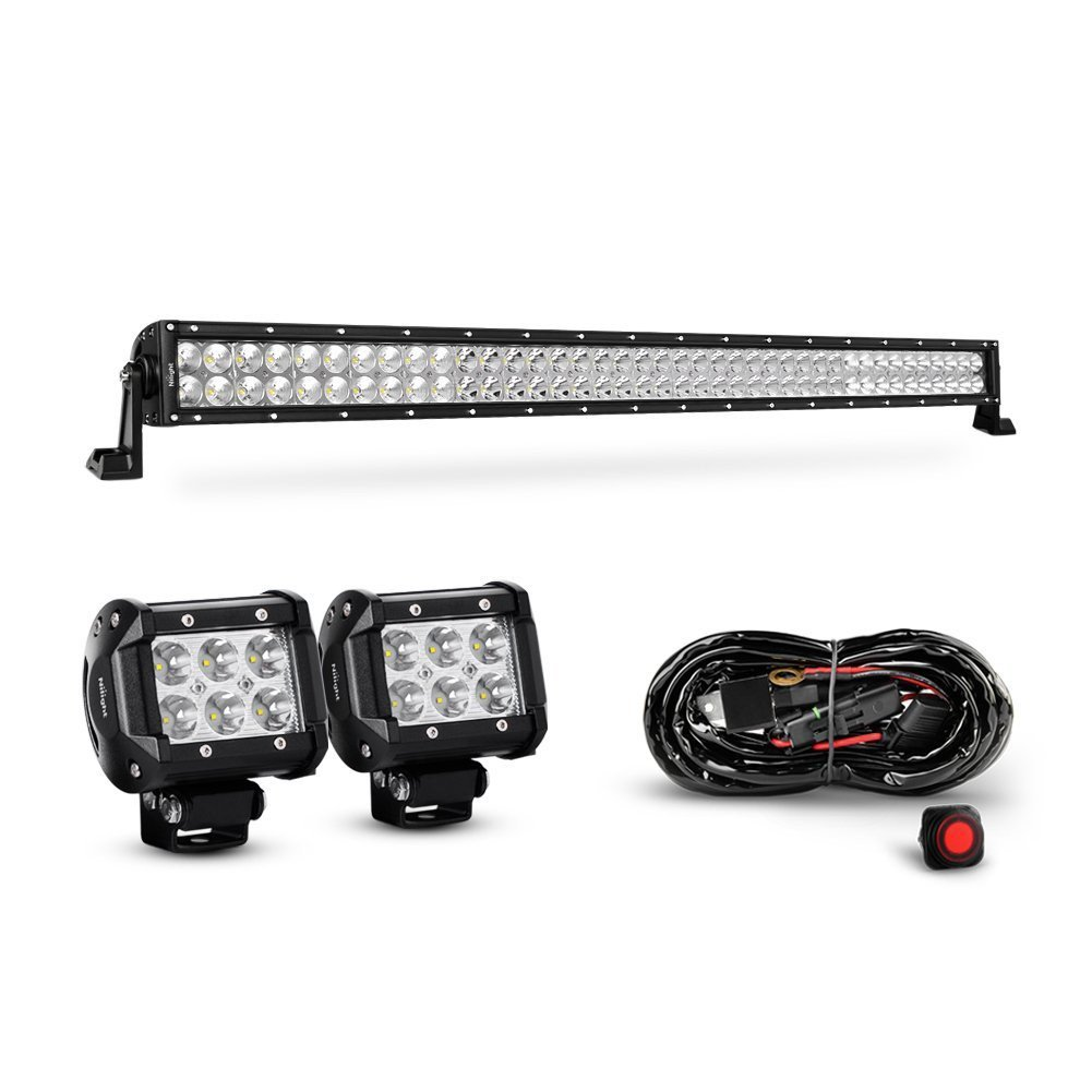 Nilight 42 Inch 240W Spot Flood Combo Led Light Bar 2PCS 4 Inch 18W Spot LED Fog Lights With Off Road Heavy Duty Wiring Harness, 2 years Warranty