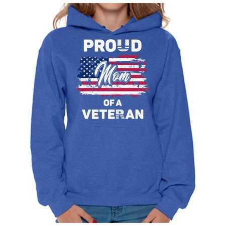 Awkward Styles Proud Mom of a Veteran Hoodie 4th of July Gifts USA Flag Hooded Sweater for Mom Love America Veteran Mom Sweatshirt Red White and Blue Patriotic Hooded Sweatshirt for Mom USA Pride