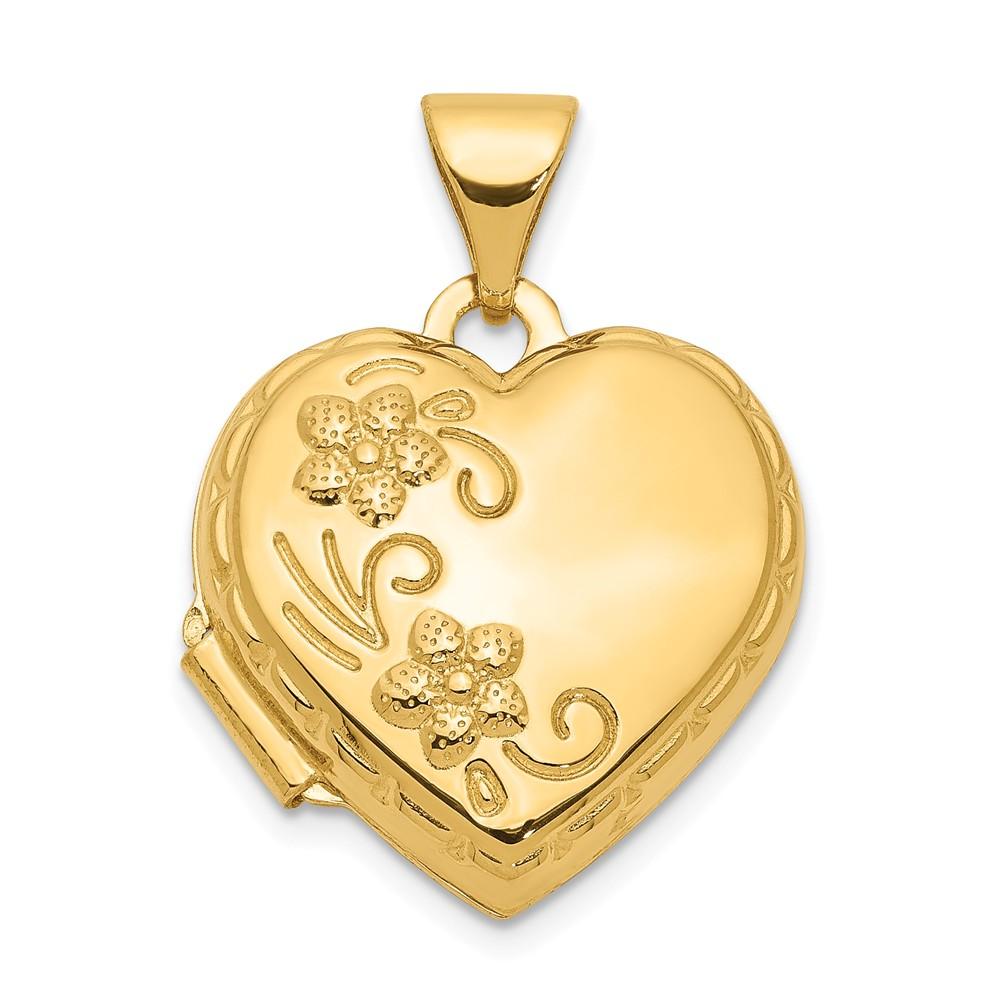 14k Yellow Gold Reversible Heart Locket