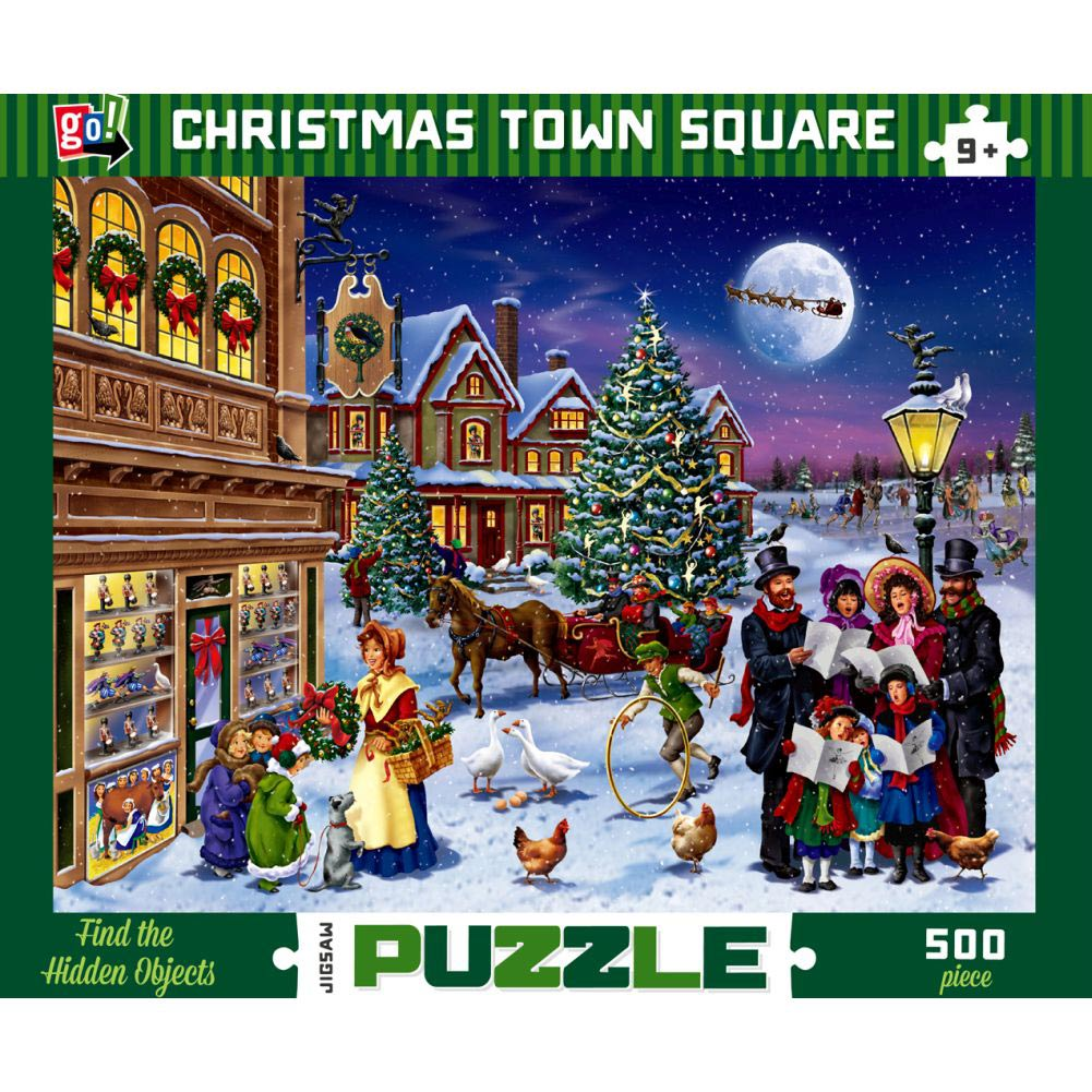 Christmas Town Square 500 Piece Puzzle,  Christmas Puzzles by Go! Games