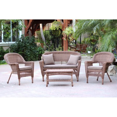 Jeco 4pc Honey Wicker Conversation Set - Brown Cushions ()