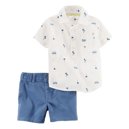 Carters Infant Boys Palm Trees & Van Baby Outfit Shirt & Blue Shorts Set