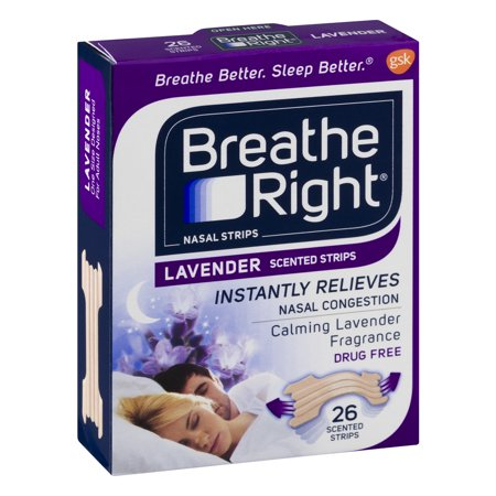 Breathe Right Lavender Nasal Strips  Tan Color  Drug Free  26 Strips