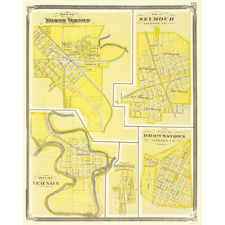 Old City Map Vernon Seymour Brownstone Indiana 1876 23 X 28 92